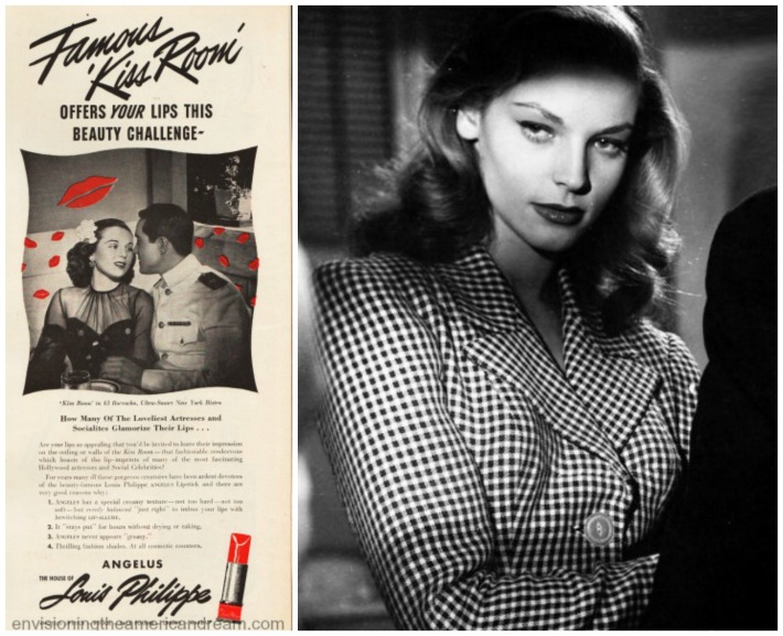 Lauren bacall and vintage ad 1944