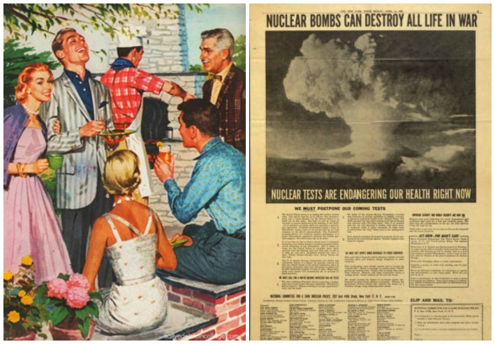 collage vintage happy people at backyard barbecue and ad calling for an end to nuclear bomb testing
