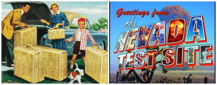 nuclear family vacation postcard nevada test site