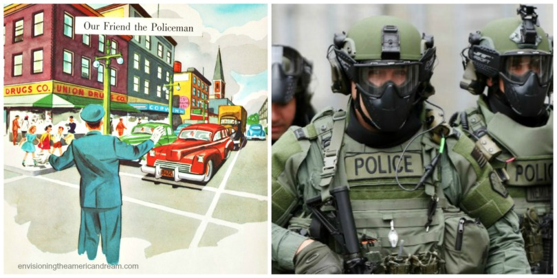 vintage illustration policeman and militarized police