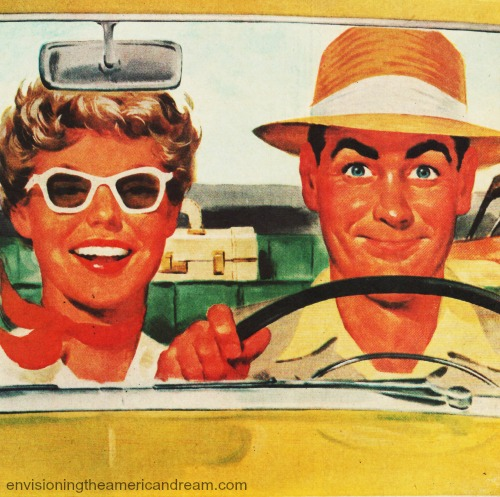 Vintage Illustration Vacationers Traveling In Car