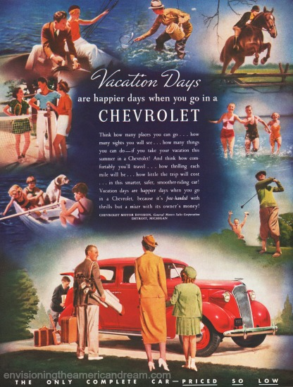 vintage Chevrolet ad 1937 summer vacation