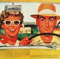 vintage illustration couple in car