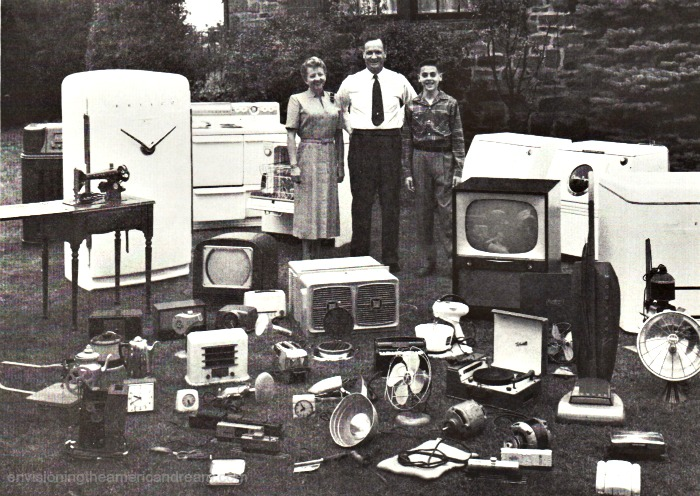 picture 1950s family and electric home appliances