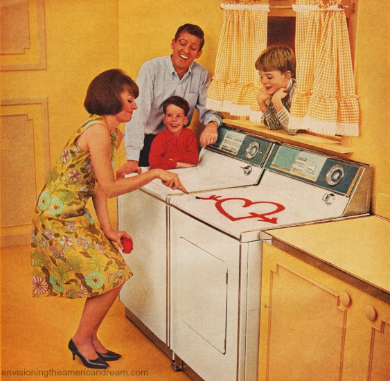 vintage housewife and family in laundry room
