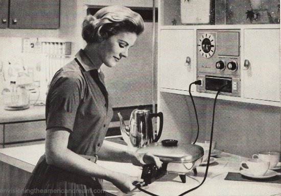 vintage 1950s housewife in kitchen