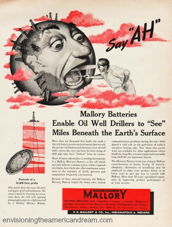 Vintage 1950 ad Mallory Batteries