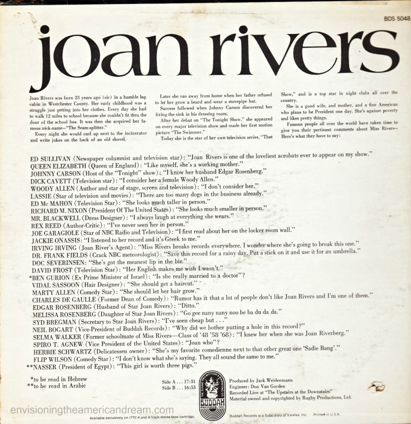 The Next to Last Joan Rivers Album 1969 back Cover