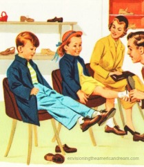 vintage illustration children at shoe store