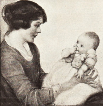 Vintage illustration mother and baby 1900's