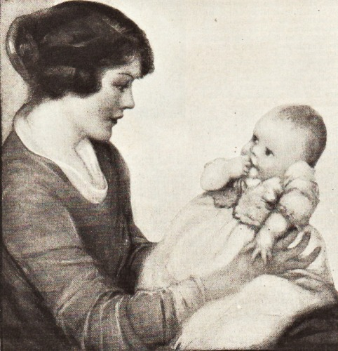 Vintage illustration mother and baby