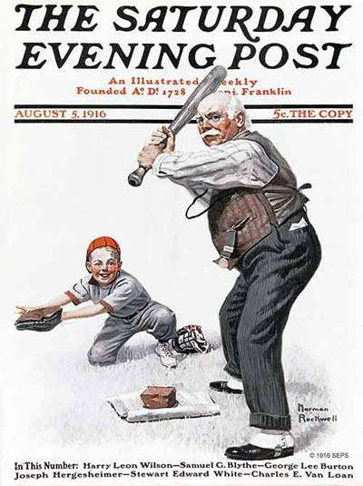 1916 Saturday Evening Post cover Norman Rockell young boy catching baseball old man batting