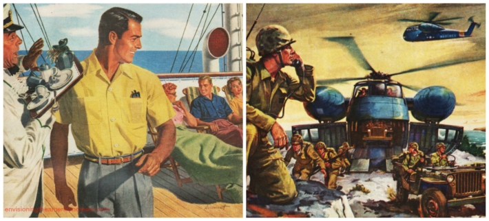 vintage illustrations men on cruise shio and soldiers at war