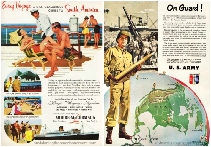 Vintage ads travel and US Army Recruitment  ad