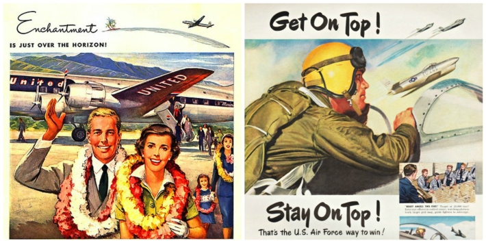 2 vintage illustration  couple in Hawaii and Air Froce  pilot