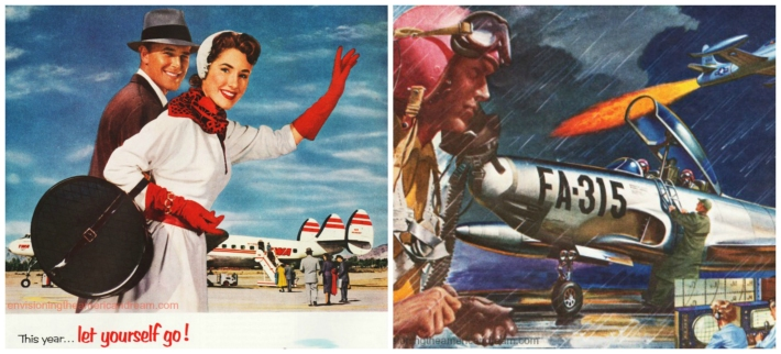 vintage illustration couple at airport and aur force pilot