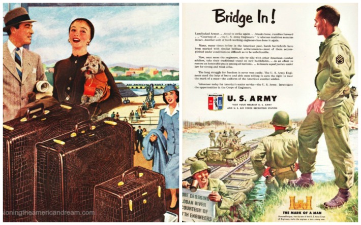 2 vintage ads luggage and travel and 1951 army soldiers