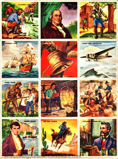Vintage childrens bok illustration American History Stamps