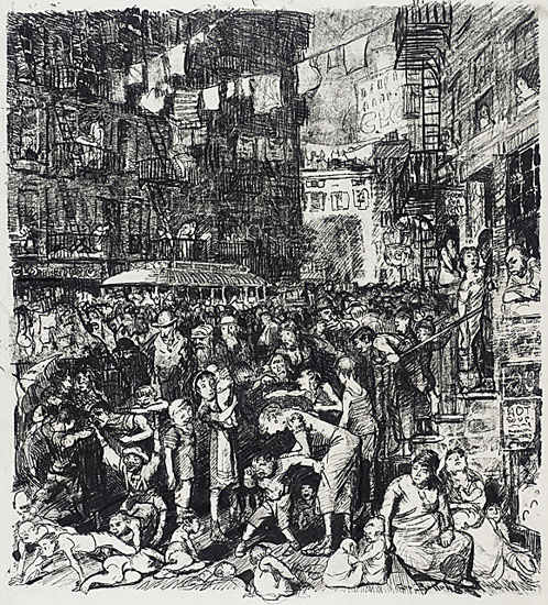 George Bellows Lithograph art NYC Tenements