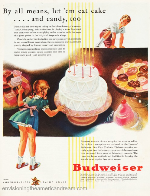 vintage ad Budweiser WWII illustration of children and candy