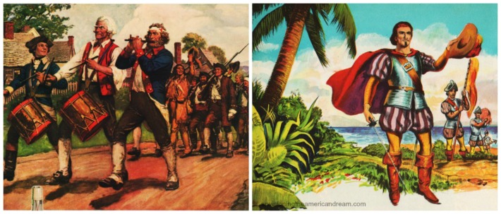 Vintage schoolbook illustrations 1776 and Christopher Columbus