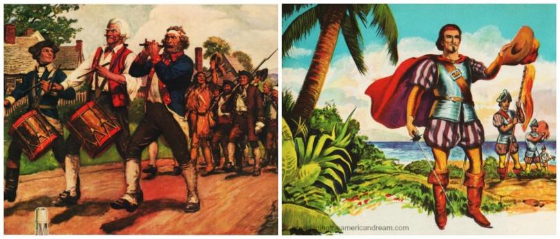 vintage illustration Columbus and Spirit of 1776