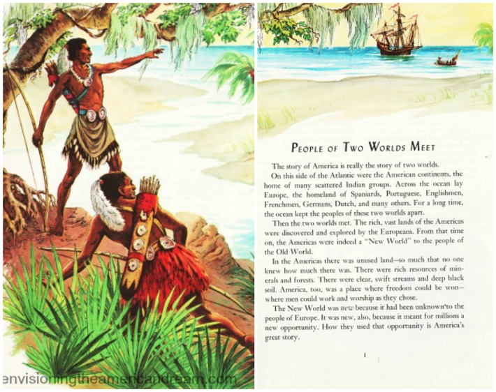 Columbus Indians Sighting vintage illustration School book