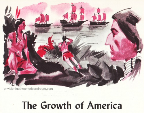 Vintage illustration Indians greeting Columbus ships