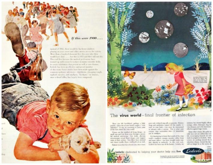 Vintage  Drug ads Lederle 1950s