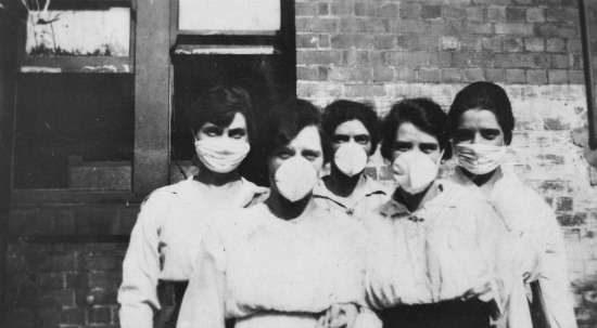 vintage polio masks on women