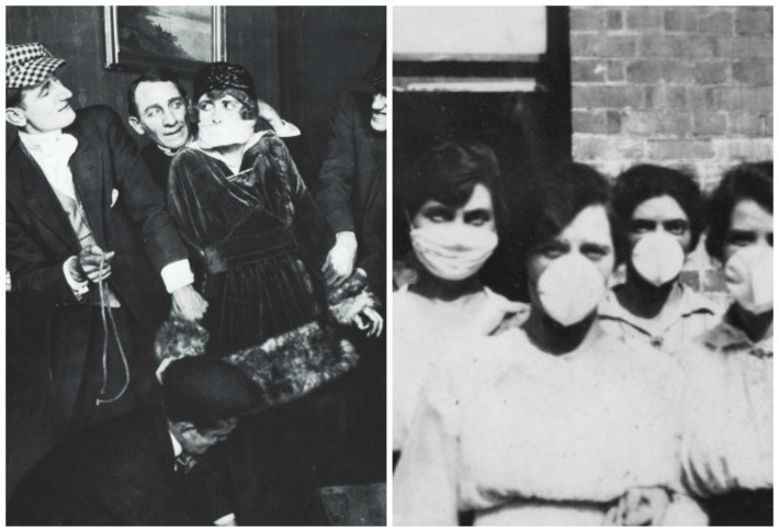 Perils of Pauline photo and masked women  protected from polio