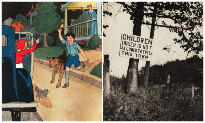 health polio restrictions suburbs and vintage school book illustrations