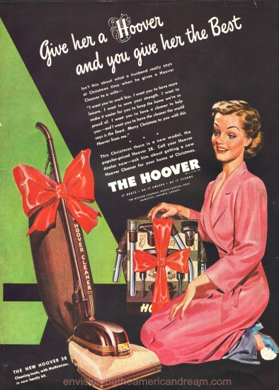 vintage illustration housewife vacuum cleaner