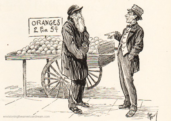 immigrants Jewish peddler vintage cartoon