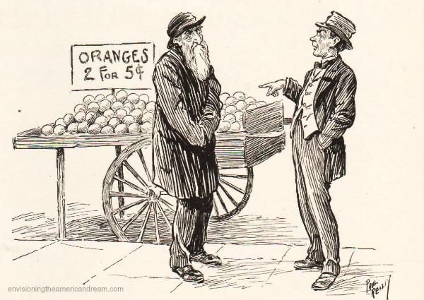 immigrants Jewish peddler vintage cartoon