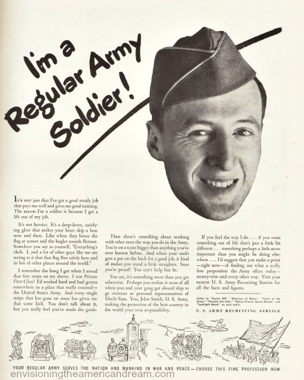 Vintage ad 1946 US recruiting Service  picture of soldier