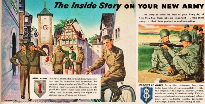 vintage illustration US soldiers  army 1948