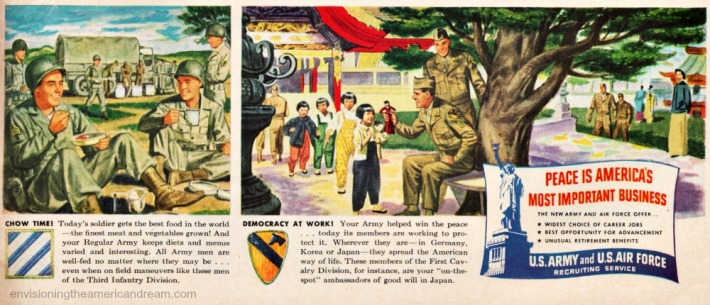 vintage illustrations American soldiers 1948