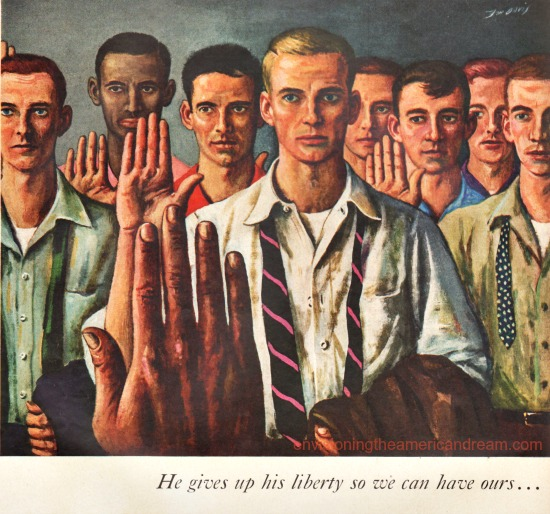 vintage illustration men taking oath for draft