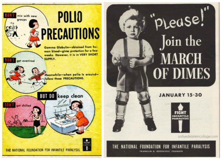 vintage polio precautions march of Dimes posters
