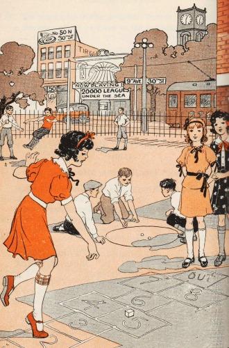 vintage illustration urban children at play