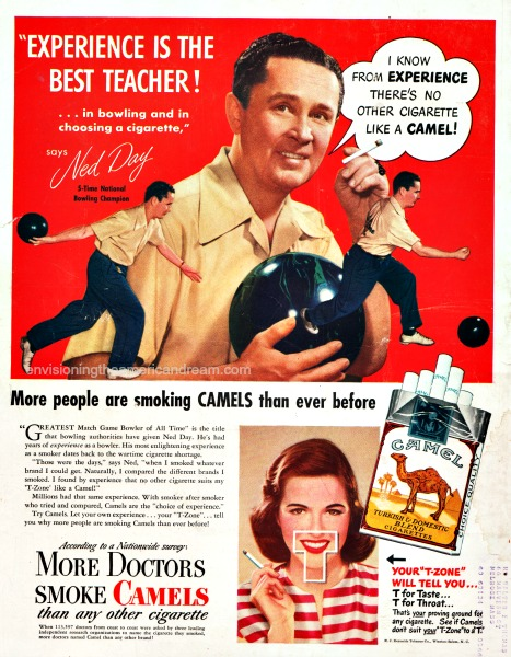 vintage ads bowling smoking