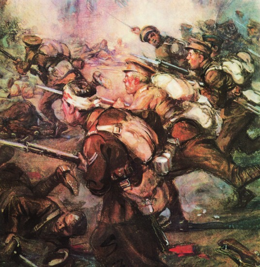 painting WWI soldiers fighting