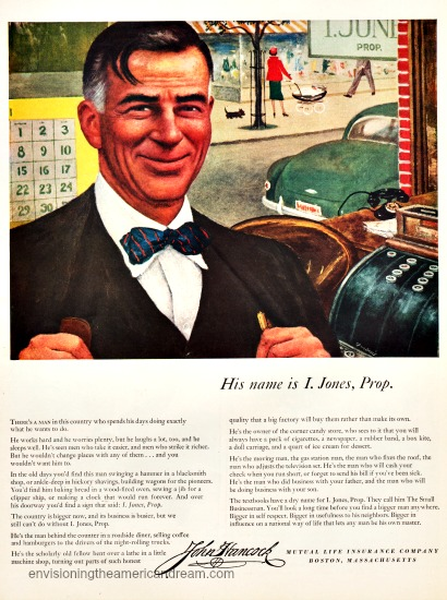 vintage illustration and ad small Businessman