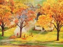 vintage illustration fall foliagee