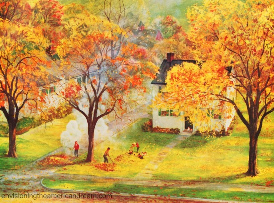 vintage illustration burning fall leaves 1958