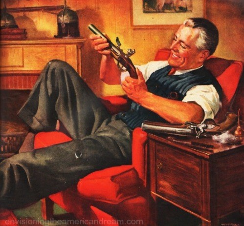 vintage Illustration man holding gun 1940s