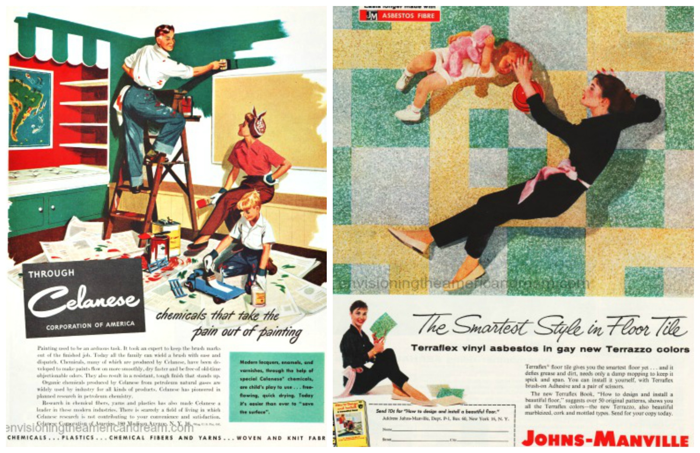 Vintage ads (L) Celanese Fine Family of Chemicals (R) Johns-Manville Asbestos tiles in gay new colors 1957