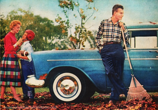 vintage family suburbs fall 1956
