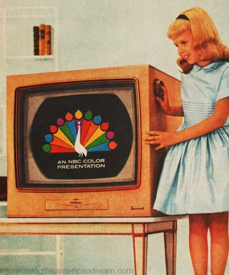 vintage TV set with girl